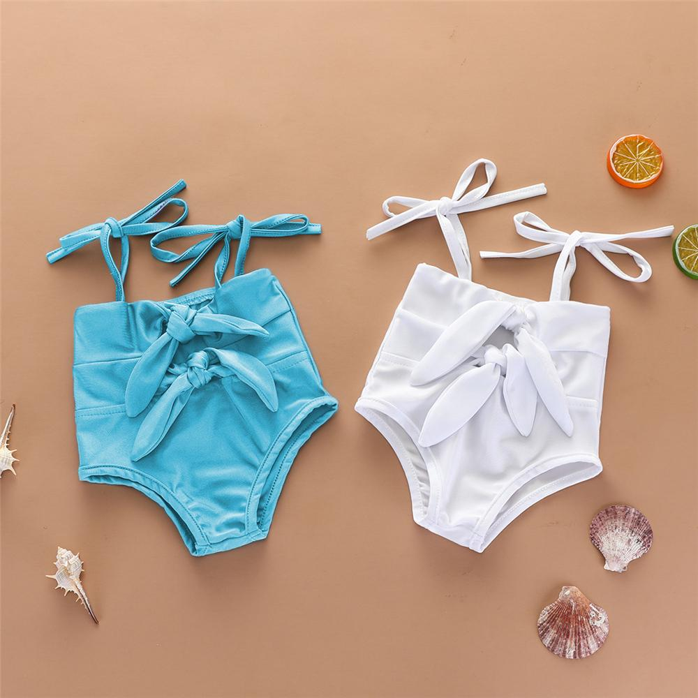Baby Girls Solid Color Bow Decor Sling Swimwear Toddler One Piece Swimsuitkids tracksuits wholesale - PrettyKid