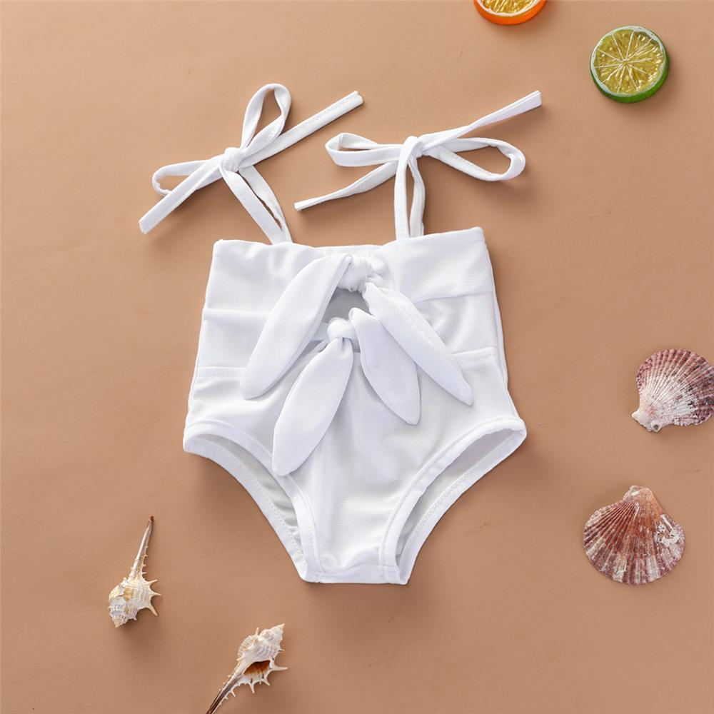 Baby Girls Solid Color Bow Decor Sling Swimwear Toddler One Piece Swimsuitkids tracksuits wholesale