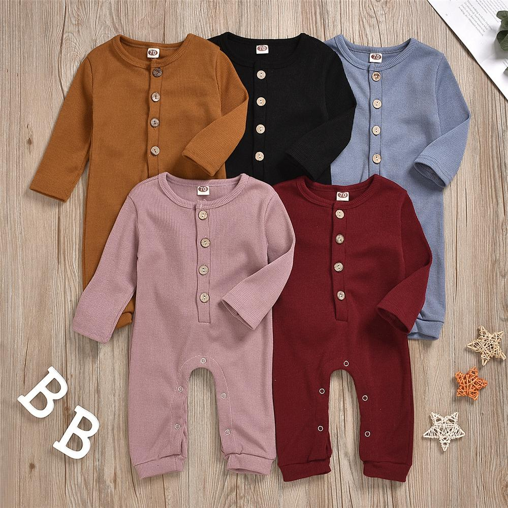 Baby Unisex Solid Color Button Romper Wholesale Baby Outfits - PrettyKid