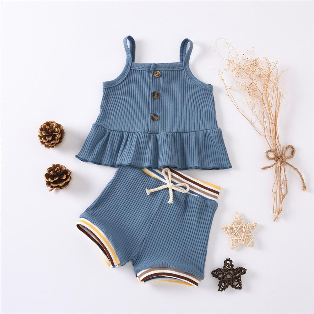Baby Girls Solid Color Button Tank & Striped Shorts Baby Boutique Clothes Wholesale - PrettyKid