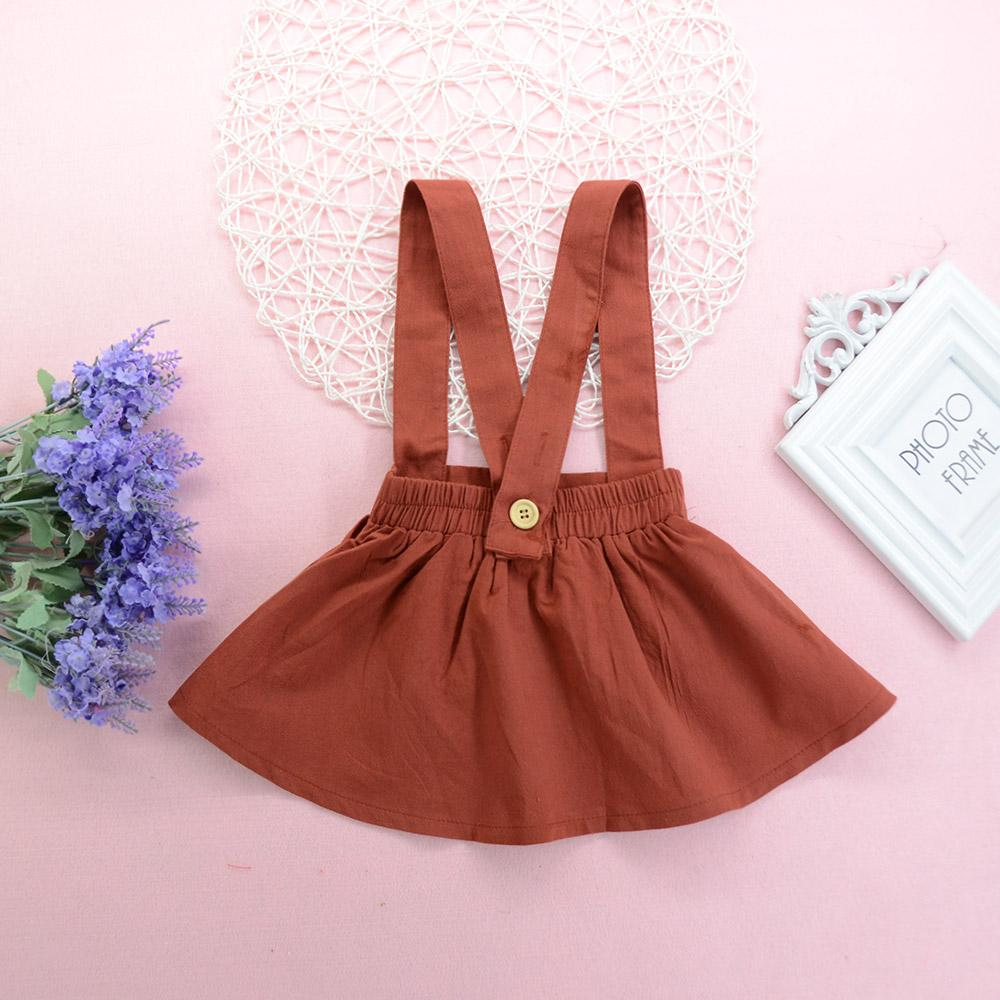 Girls Solid Color Casual Suspender Skirt Wholesale Boutique Kid Clothing