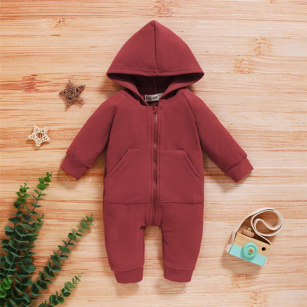 Baby Solid Color Long Sleeve Hooded Zipper Romper Wholesale Baby Clothes Suppliers - PrettyKid