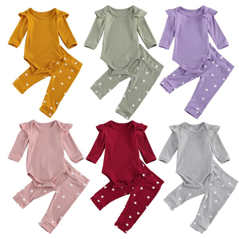 Baby Girls Solid Color Long Sleeve Romper & Heart Pants Wholesale Baby