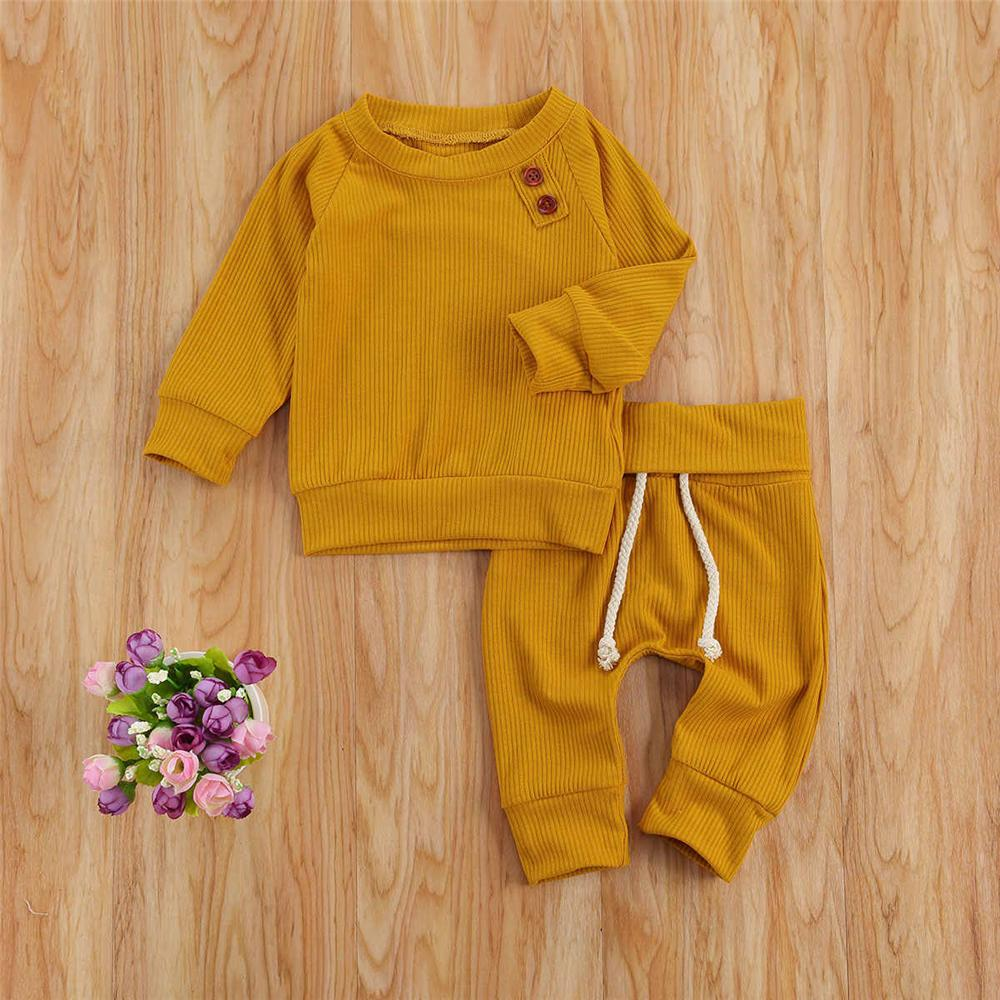 Baby Boys Solid Color Long Sleeve Top & Pants Baby Clothing Distributor