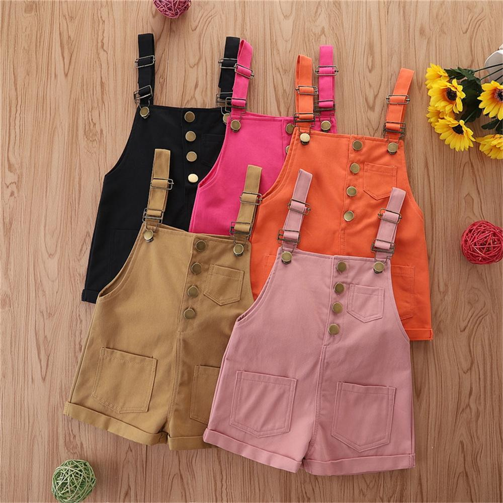 Children'S Boutique Clothing Suppliers Toddler Girls Solid Color Pocket Suspender Jumpsuit Wholesale Boutique Kid Clothing