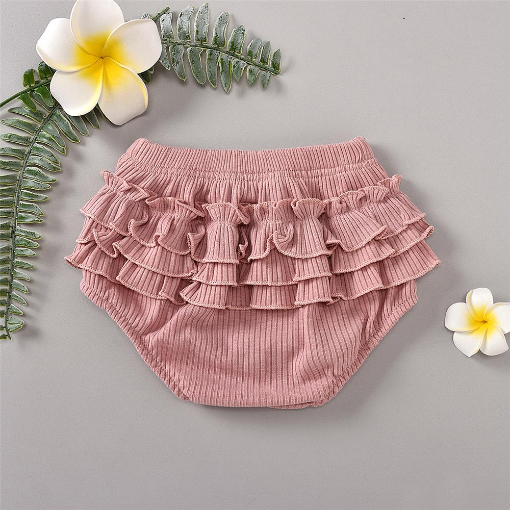 Baby Girls Solid Color Ruffled Elastic Waist Shorts Baby Boutique Clothes Wholesale