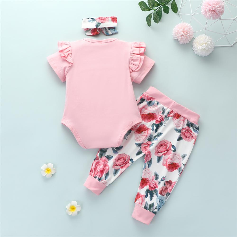 Baby Girls Solid Color Short Sleeve Romper & Floral Pants & Headband Baby Wholesale clothes vendors - PrettyKid