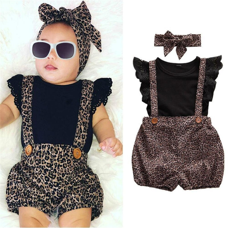 Girls Solid Color Sleeveless Top & Leopard Suspender Shorts & Headband Toddler Girls Wholesale