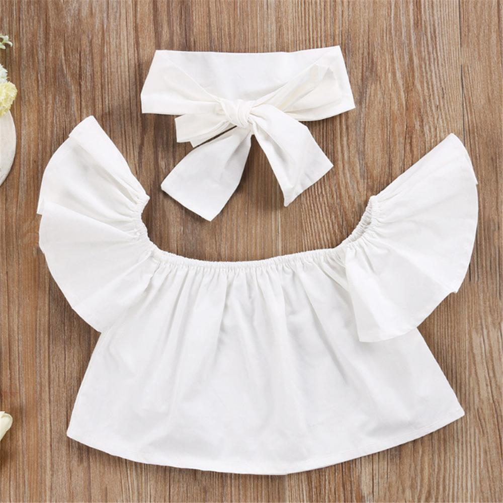 Girls Solid Color Sleeveless Top & Ripped Jeans & Headband Kids Wholesale clothes - PrettyKid
