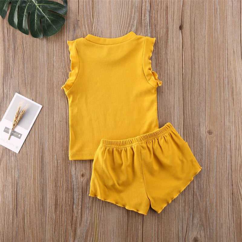 Baby Girls Solid Color Sleeveless Top & Shorts Baby clothes - PrettyKid
