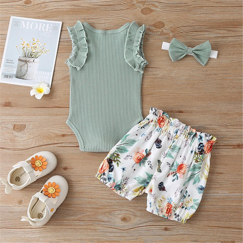 Baby Girls Solid Color Sleeveless Top & Shorts & Headband Baby clothes Wholesale Distributors