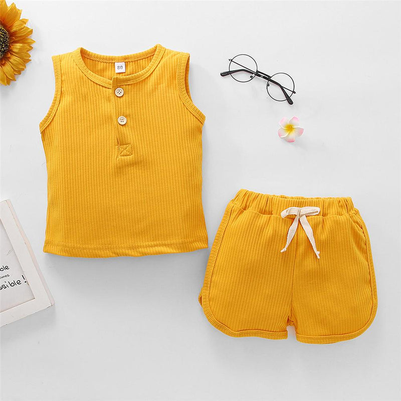 Unisex Solid Color Summer Sleeveless Tracksuit Trendy Kids Wholesale clothes