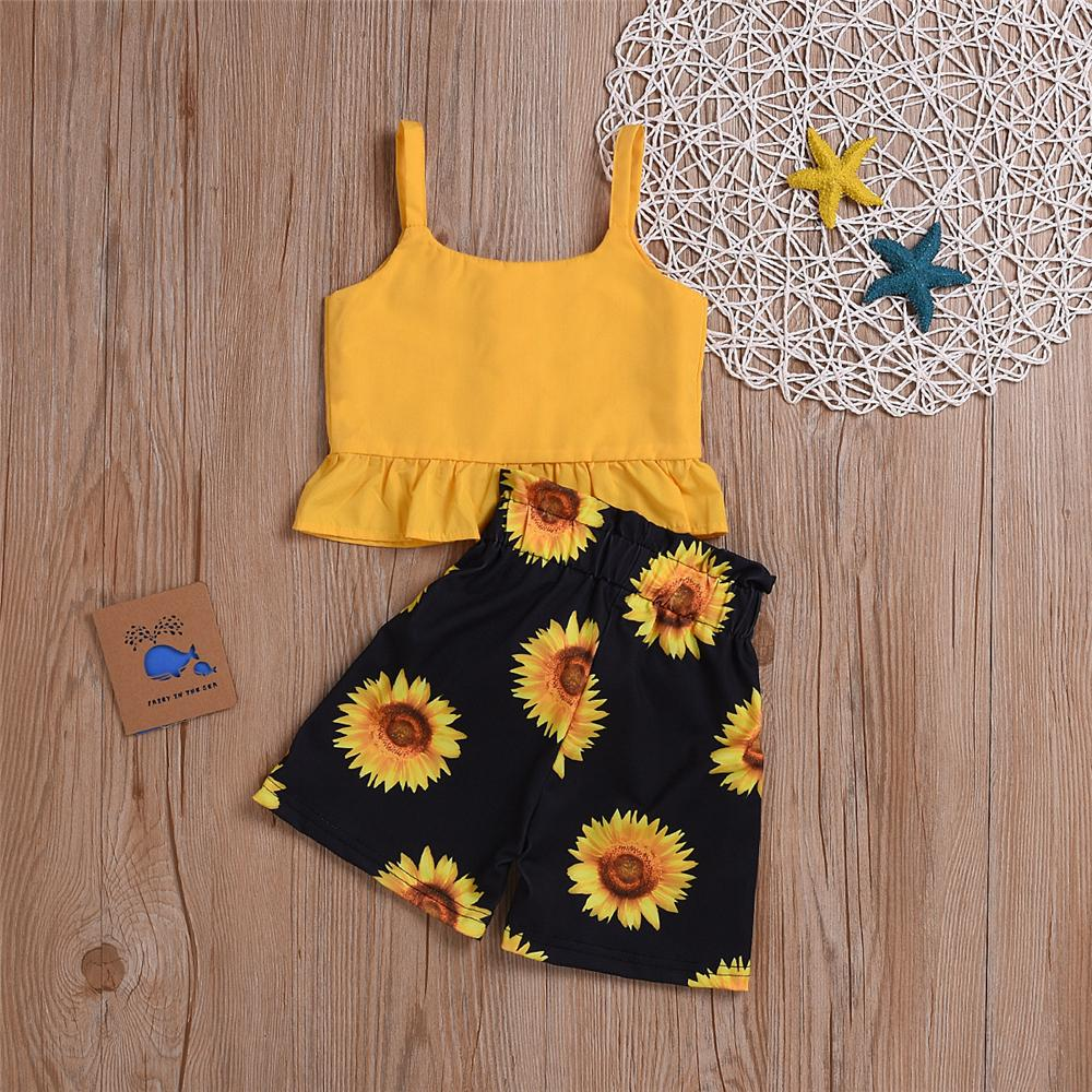 Girls Solid Color Tank & Sunflower Printed Shorts Wholesale Girl Clothing - PrettyKid
