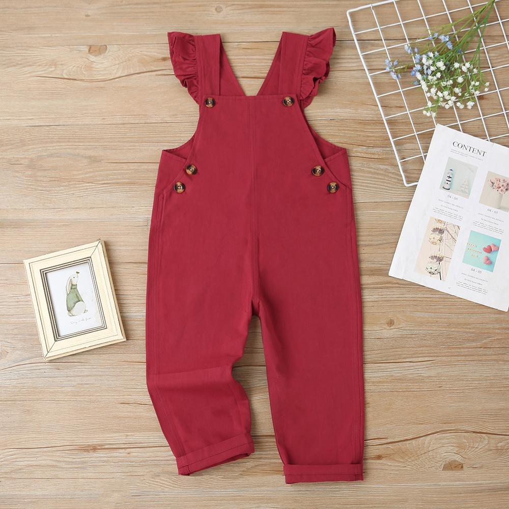 Girls Solid Cotton Pink Casual Jumpsuit Wholesale Girls Accessories - PrettyKid