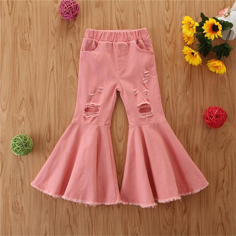 Girls Solid Denim Ripped Flared Pants Buy Wholesale Kids Clothes - PrettyKid