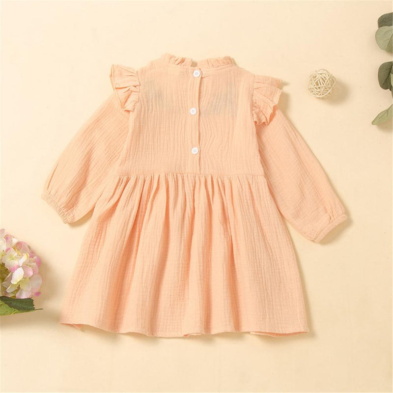 Girls Solid Embroidered Ruffle Pleated Dress Little Girl Outfits