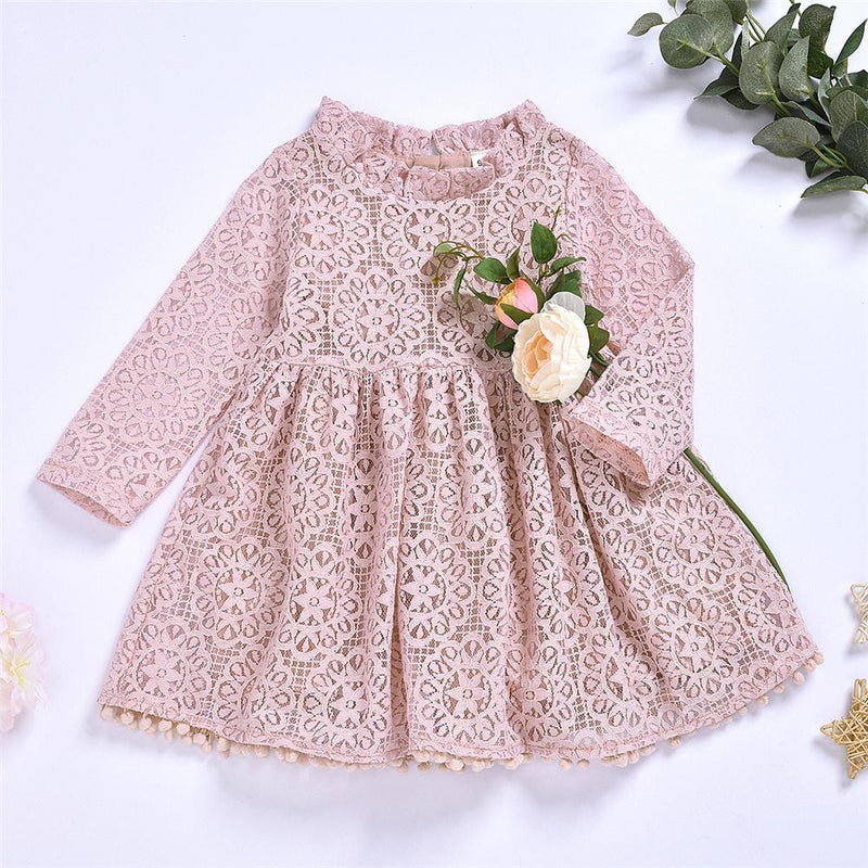 Girls Solid Hollow-out Long Sleeve Dress Girls Boutique Wholesale