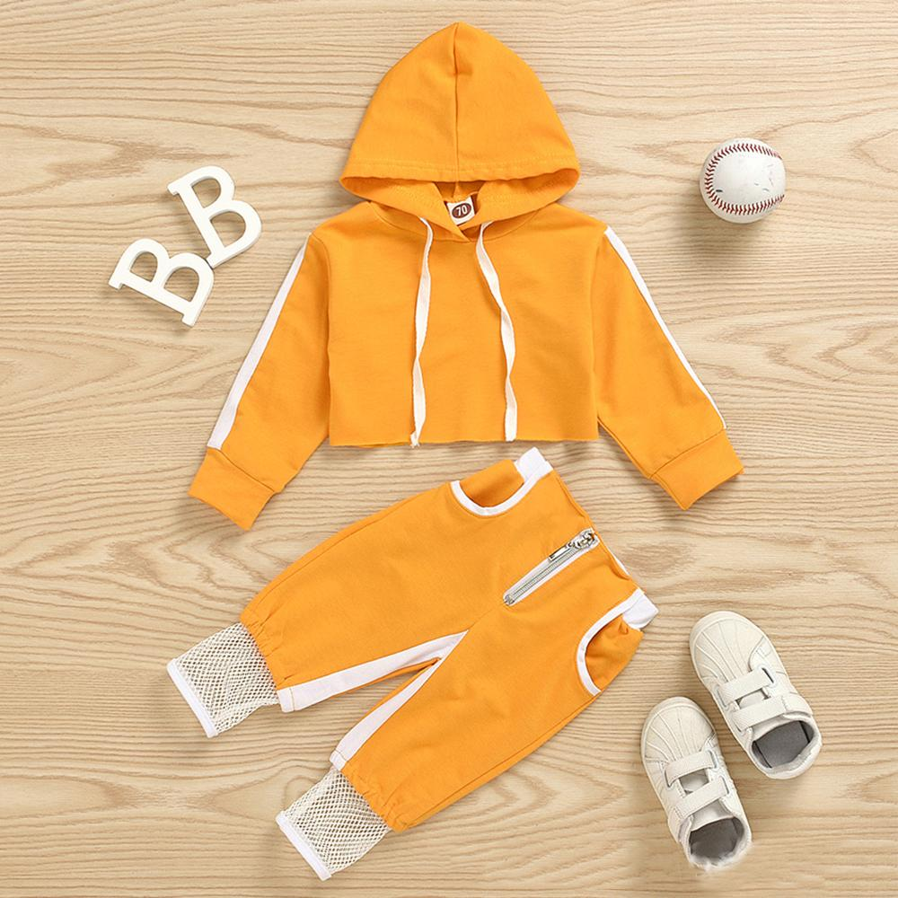 Girls Solid Hooded Long Sleeve Tracksuit Baby Girl Tracksuits Wholesale - PrettyKid