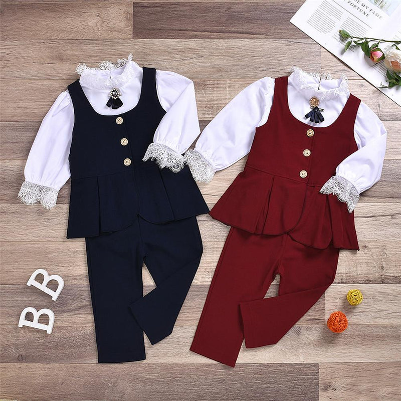 Girls Solid Lace Long Sleeve Tops & Vest & Pants