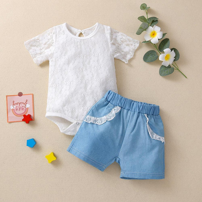 Baby Girls Solid Lace Short Sleeve Romper & Shorts Baby clothing Wholesale vendors - PrettyKid
