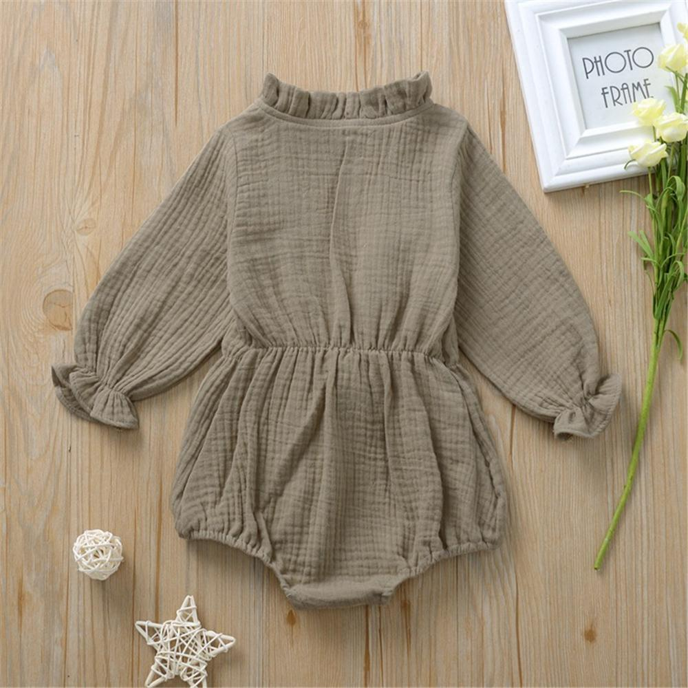 Baby Girls Solid Long Sleeve Bow Decor Romper Baby Clothes Vendors