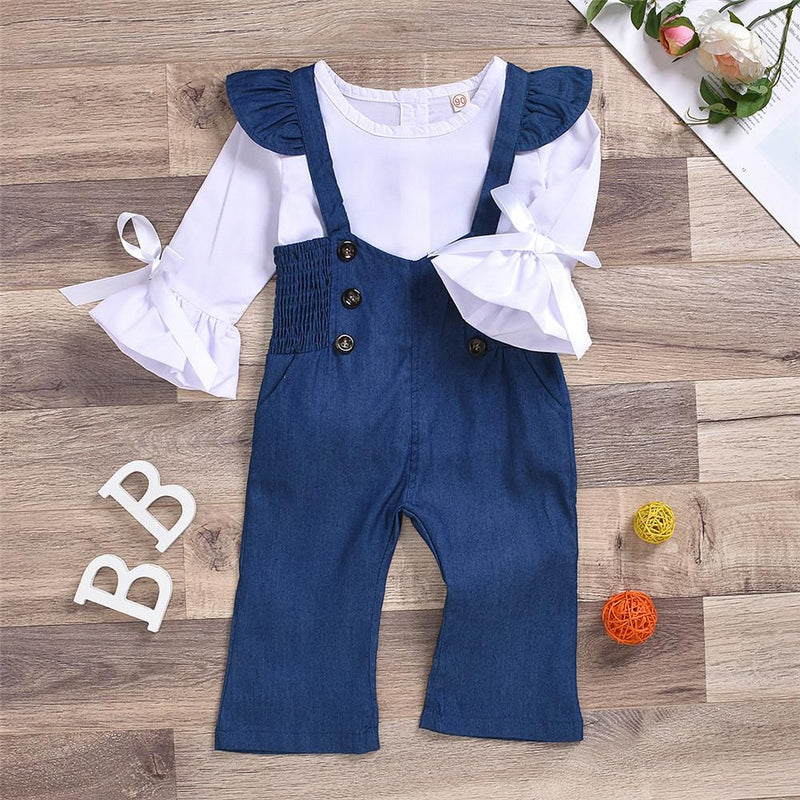 Girls Solid Flare Long Sleeve Bow Decor Tops & Denim Pants