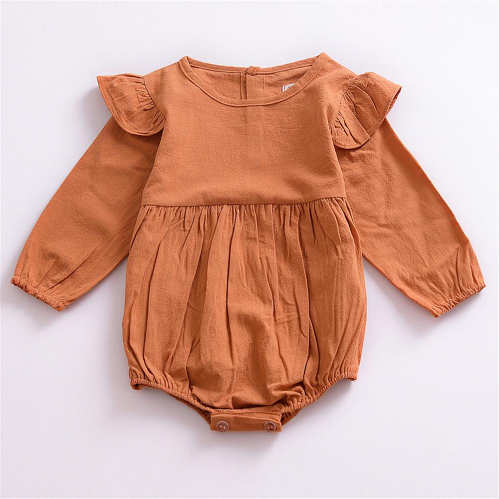 Baby Girls Solid Long Sleeve Romper Baby Boutique Clothing Wholesale