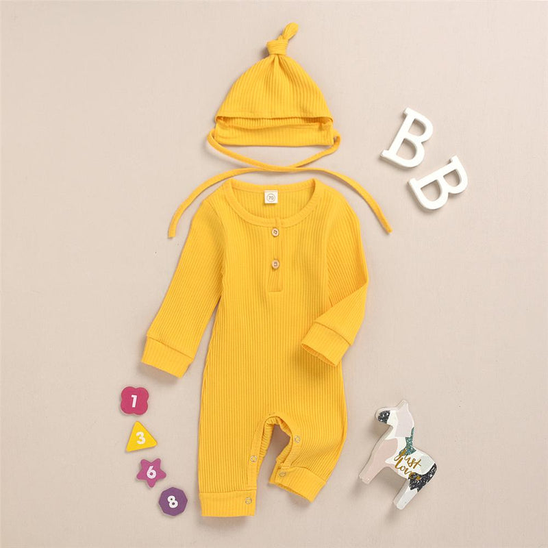 Baby Girls Solid Long Sleeve Romper & Hat Unique Baby Clothes Wholesale - PrettyKid