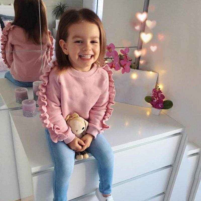 Girls Solid Long Sleeve Top & Jeans Wholesale Girls Boutique Clothing