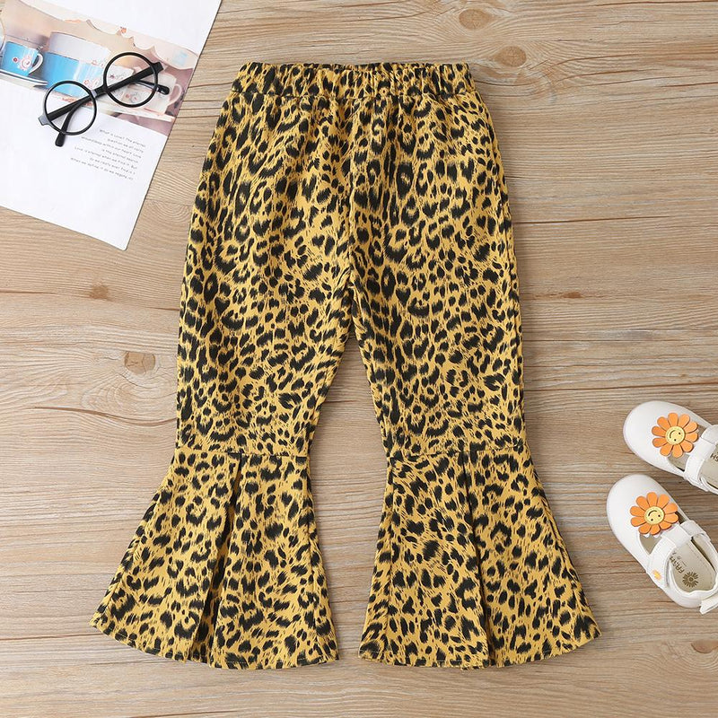 Girls Solid Long Sleeve Top & Leopard Flared Pants Kids Wholesale clothes