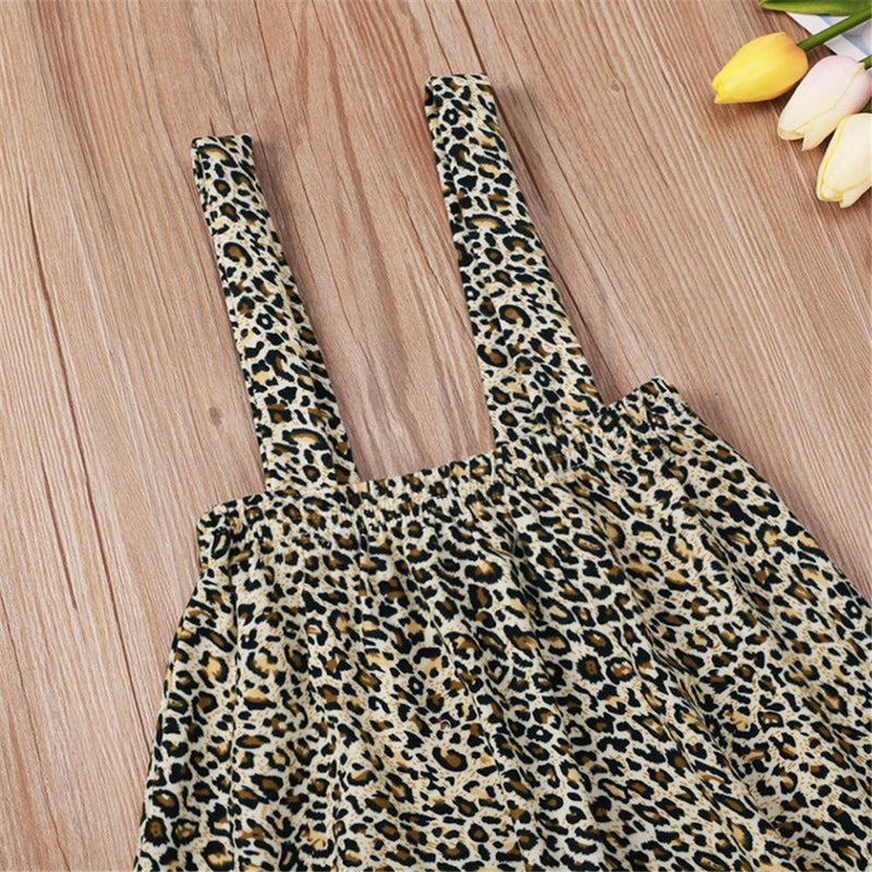 Baby Girl Solid Long Sleeve Top & Leopard Skirt Baby Clothes Wholesale - PrettyKid
