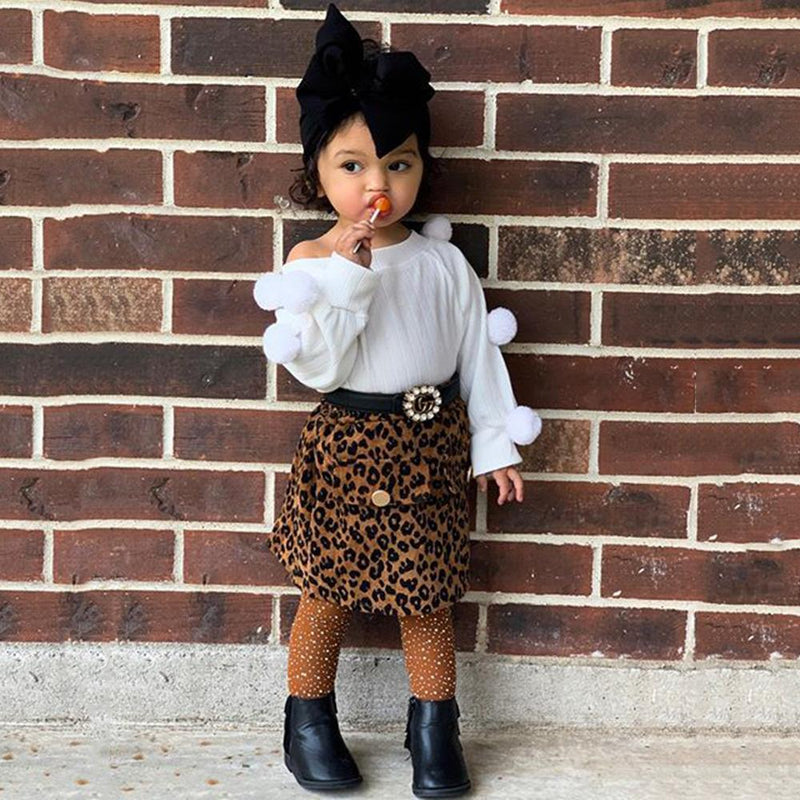 Toddler Girls Solid Long Sleeve Top & Leopard Skirt Girls Wholesale
