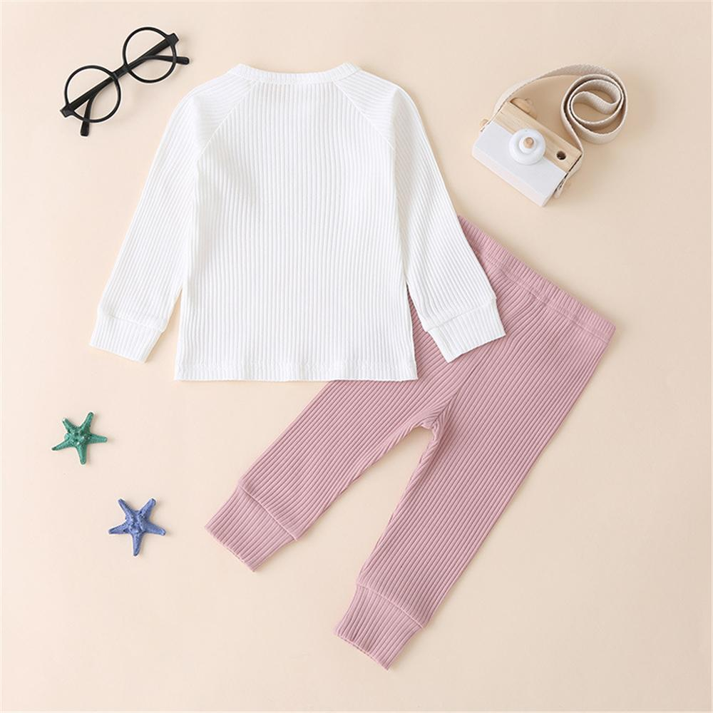 Unisex Solid Long Sleeve Top & Pants Cheap Baby Clothes In Bulk