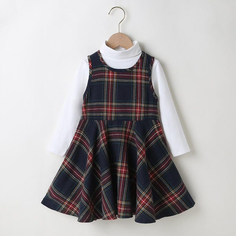 Girls Solid Long Sleeve Top & Plaid Sleeveless Dress Girls Clothes Wholesale