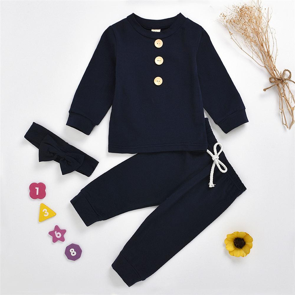 Baby Girls Solid Long Sleeve Tracksuit & Headband Girls Clothes Wholesale - PrettyKid