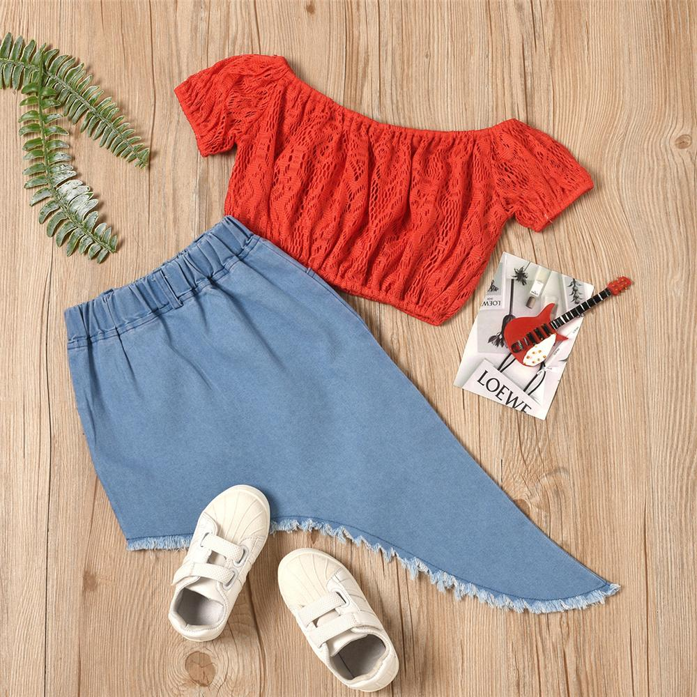 Toddler Girls Solid Off Shoulder Short Sleeve Hollow Out Top & Irregular Denim Skirt vintage childrens clothes wholesale