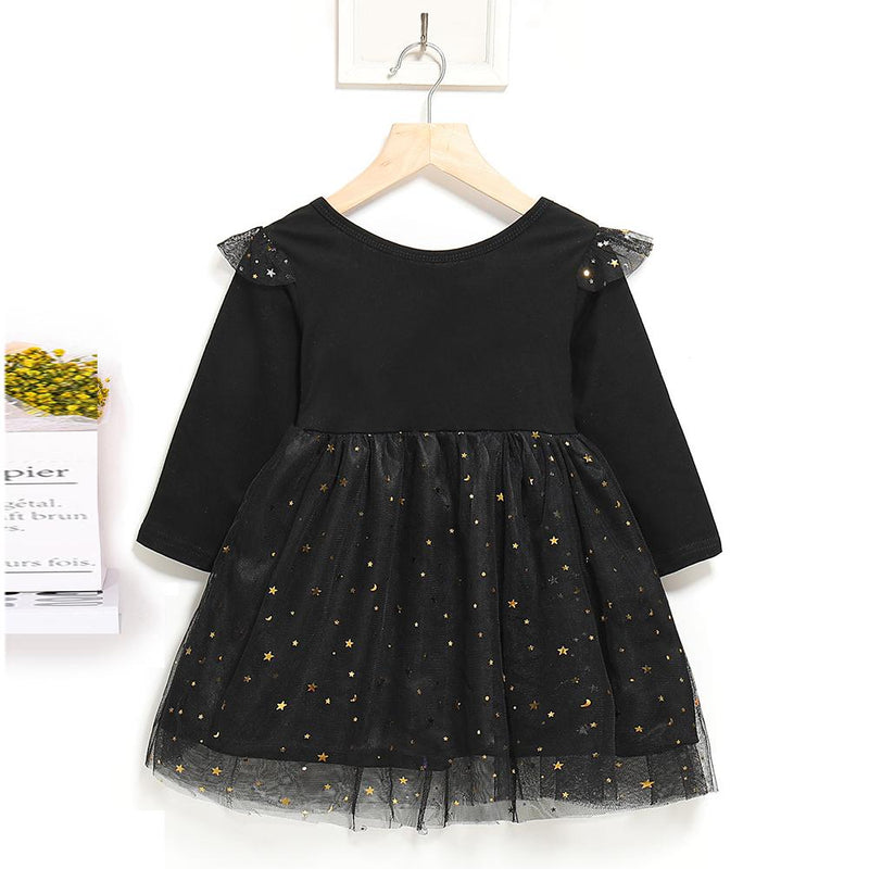 Girls Solid Pleated Star Long Sleeve Mesh Dress
