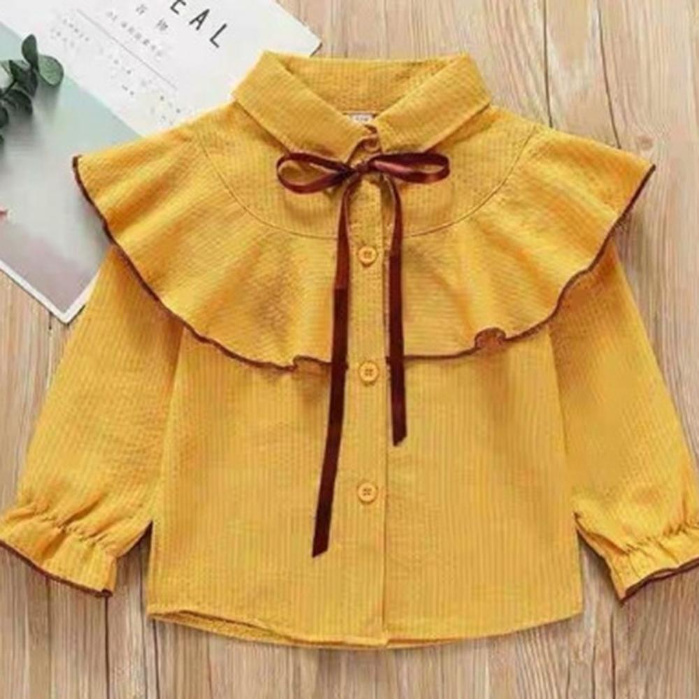 Girls Solid Ruffle Striped Blouse Boutique Kids Clothes Wholesale