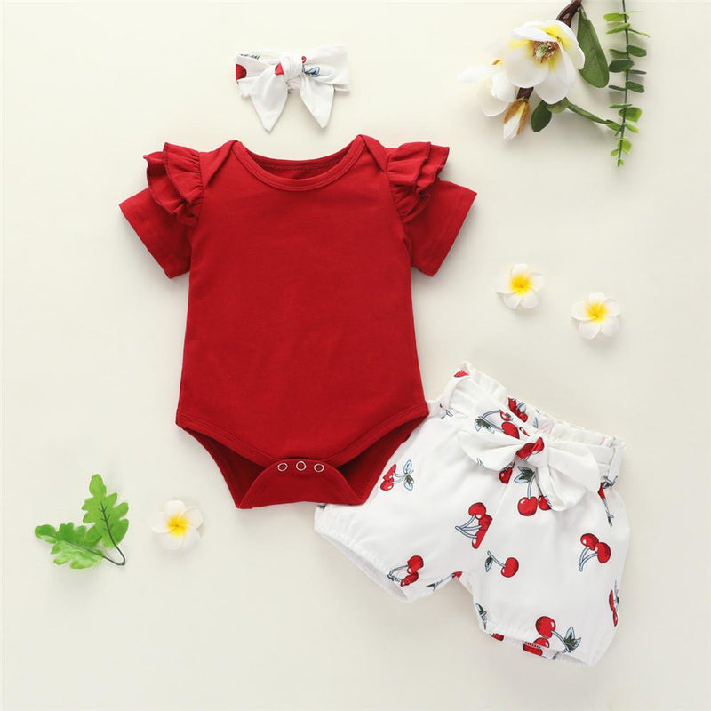 Baby Girls Solid Short Sleeve Romper & Shorts & Headband Baby Wholesale vendors