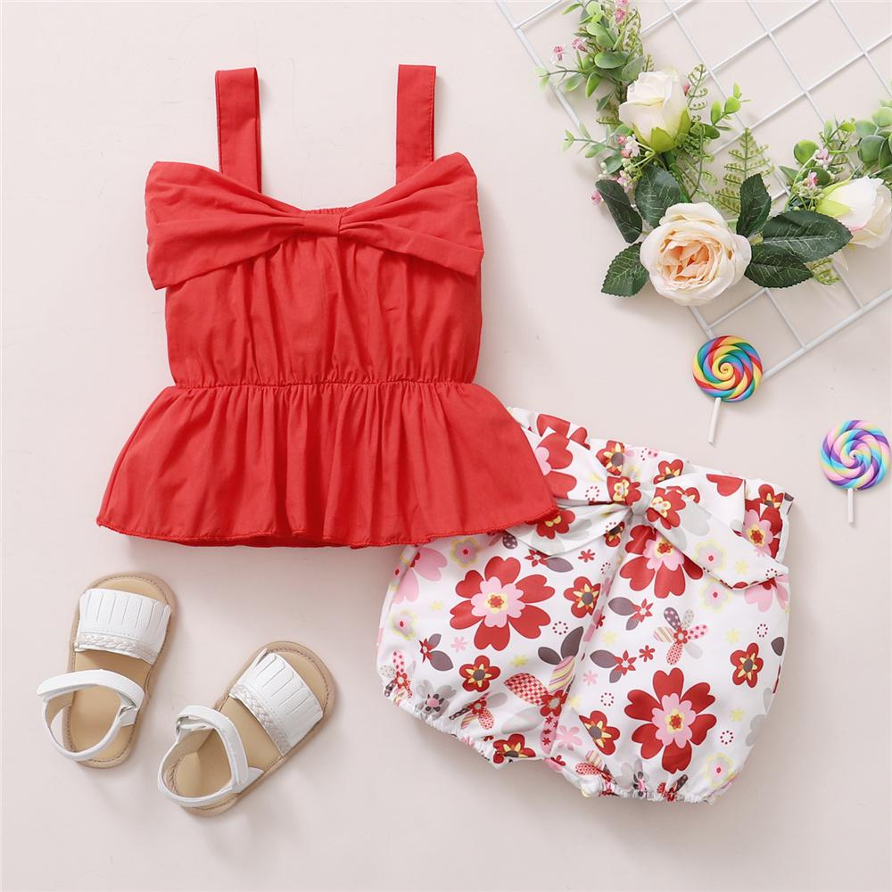 Toddler Girls Solid Sling Top & Floral Shorts wholesale baby and kids clothing