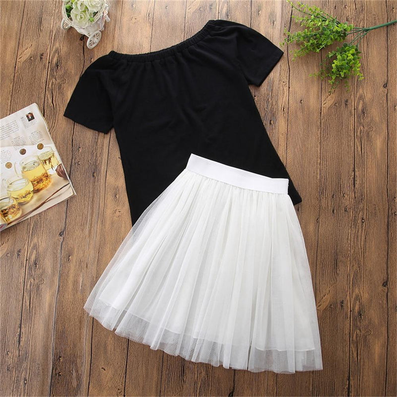 Parent-Child Solid T-Shirt & Tulle Skirt Mommy And Me Matching Outfits Wholesale