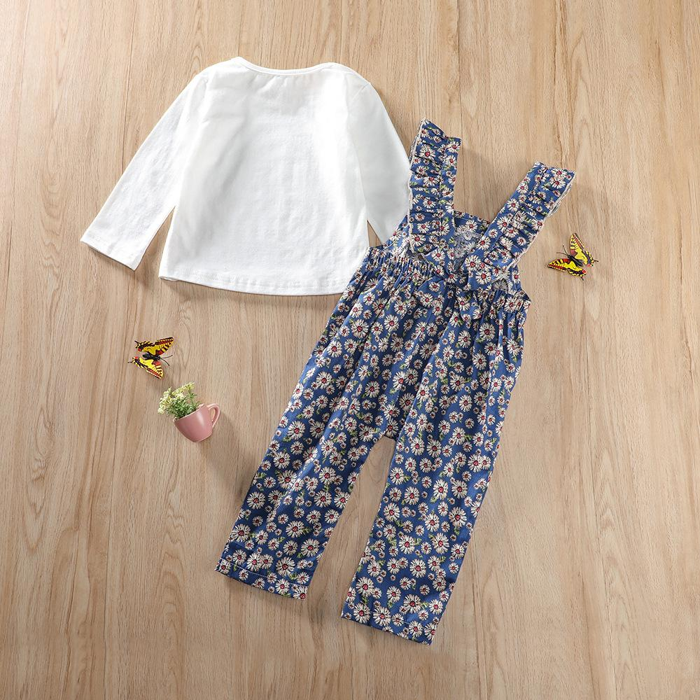 Baby Girls Solid Top & Floral Printed Jumpsuit Cheap Bulk Baby Clothes
