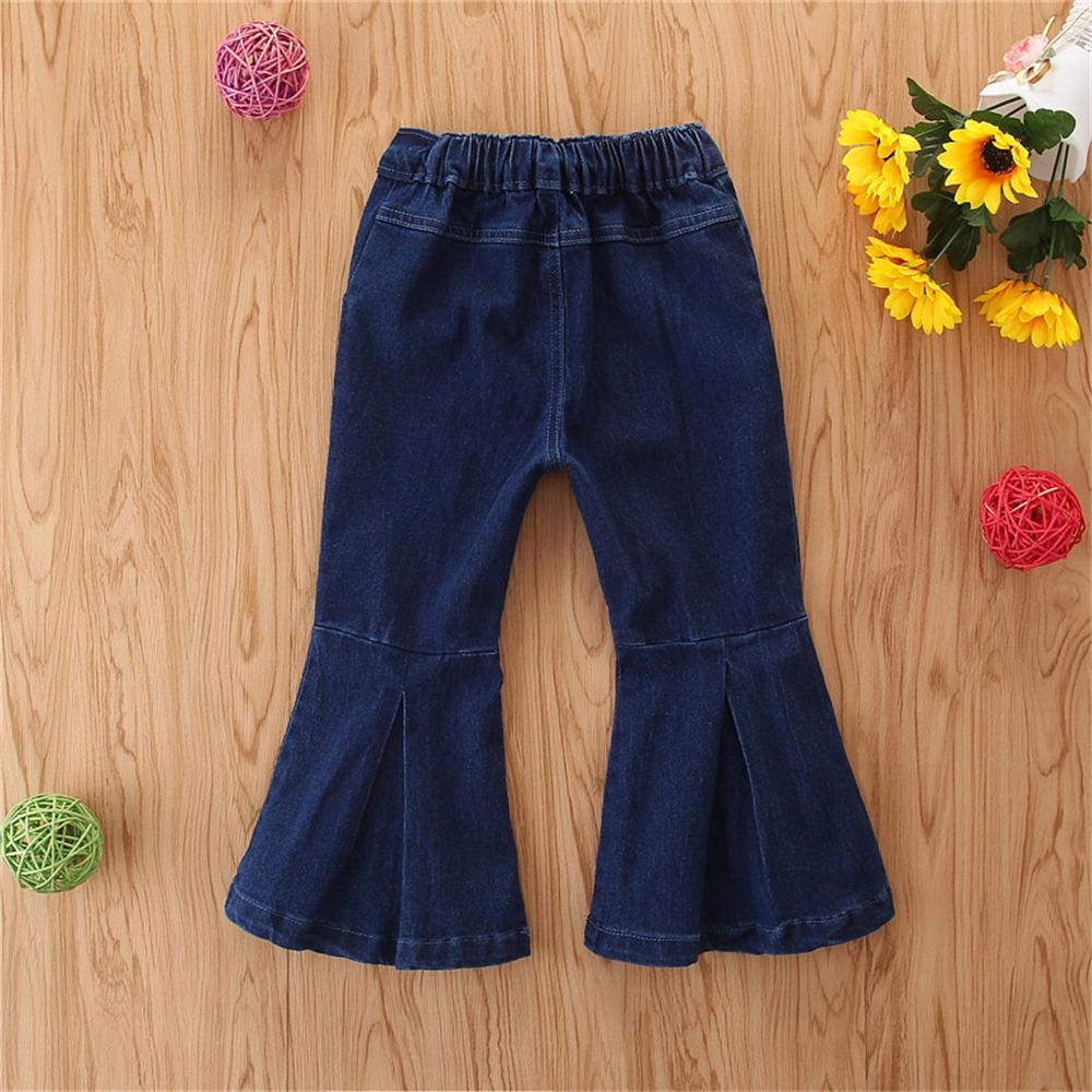 Girls Solid Zipper Bell Jeans Toddler Baby Girl Wholesale Boutique