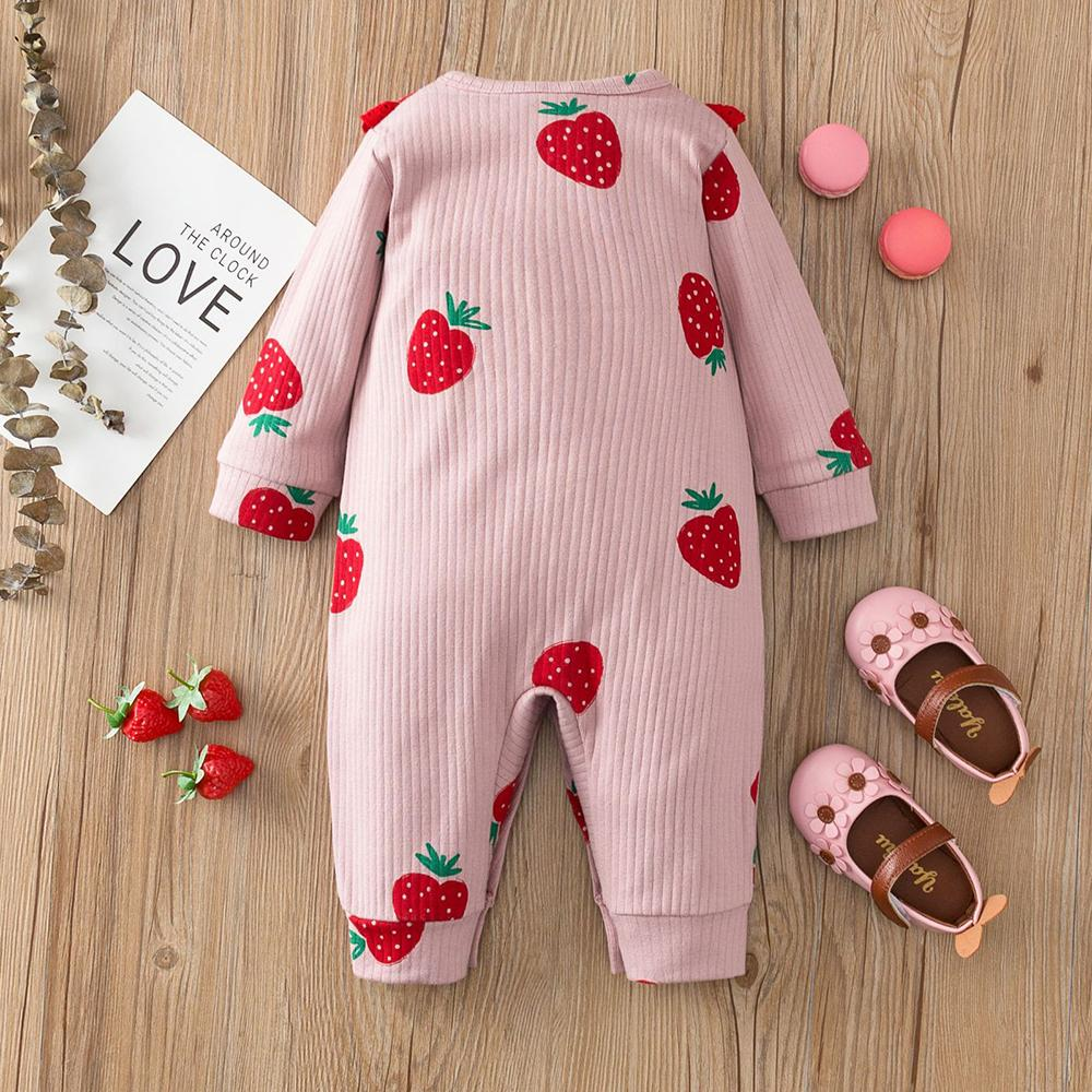 Baby Girls Strawberry Long Sleeve Romper Baby Clothes Wholesale Bulk
