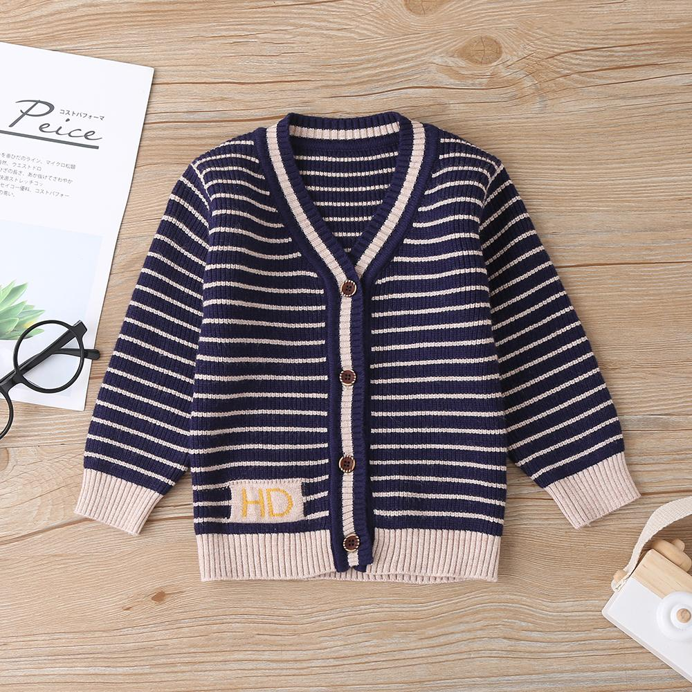 4PCS Baby Boys Striped Long Sleeve Cardigan Sweaters Cheap Bulk Baby Clothes - PrettyKid