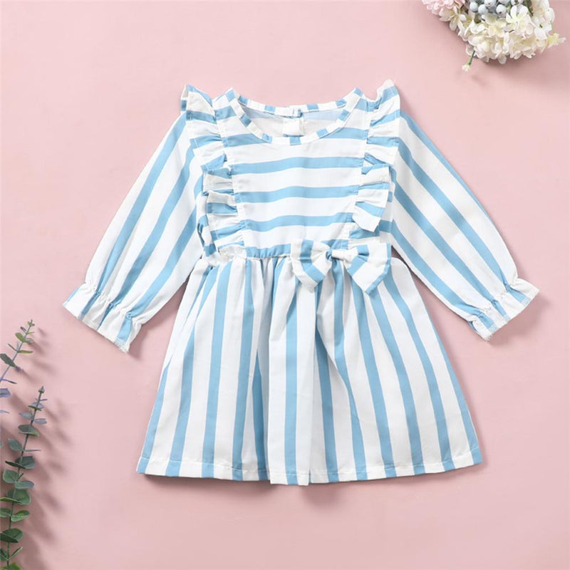 Baby Girls Striped Bow Decor Ruffled Long Sleeve Dress Baby Clothes Wholesale Bulk