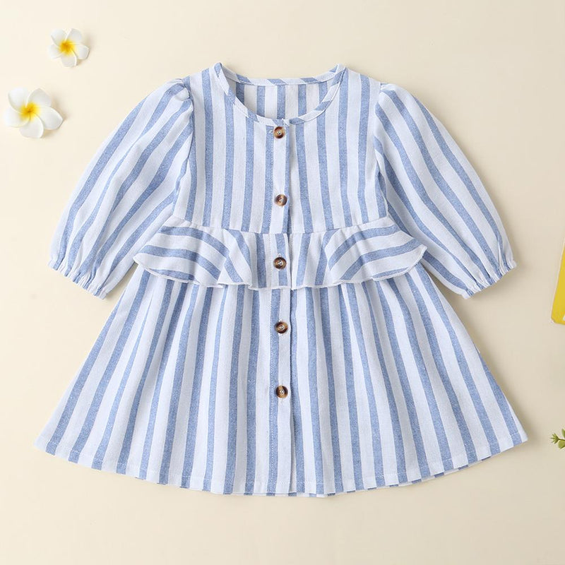 Baby Girls Striped Button Long Sleeve Daily Dress