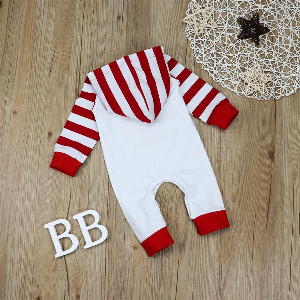 Baby Boys Striped Christmas Hooded Long Sleeve Romper Baby Outfits