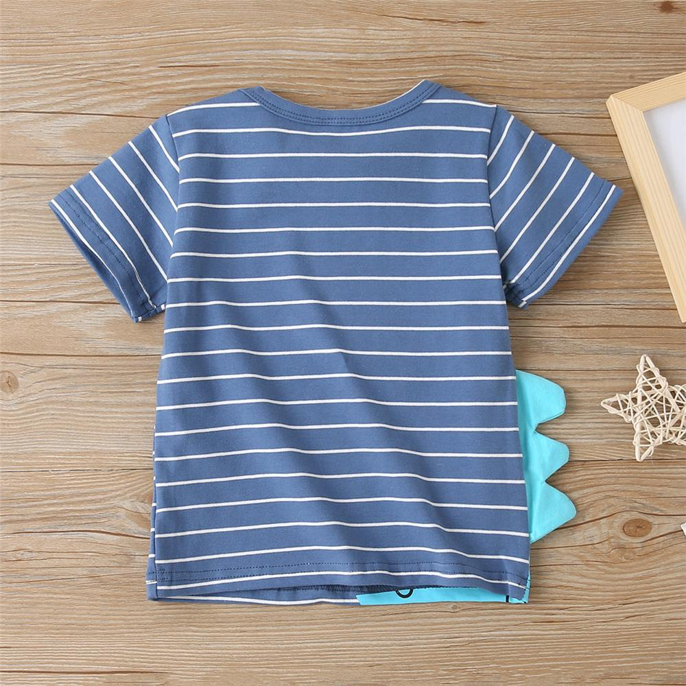 Boys Striped Dinosaur Letter Printed Short Sleeve T-Shirts Baby Boy Wholesale Boutique - PrettyKid