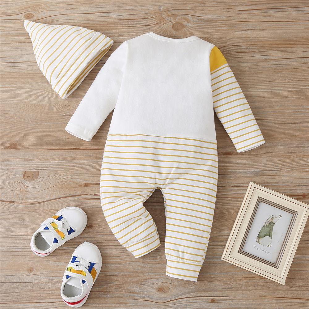 Baby Striped Fish Long Sleeve Romper & Hat Baby Clothing Cheap Wholesale